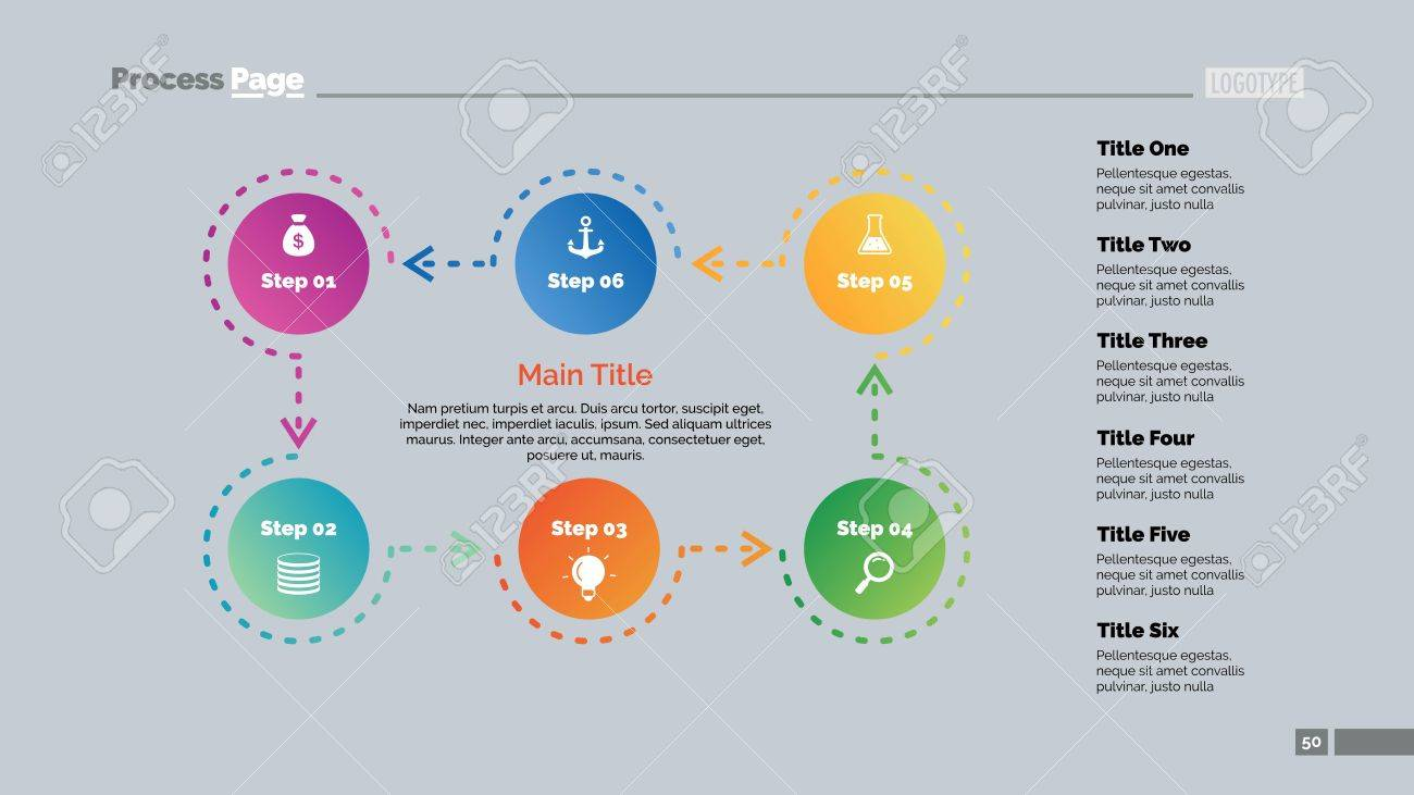 Six Steps Process Chart Business Data Cycle Diagram Design