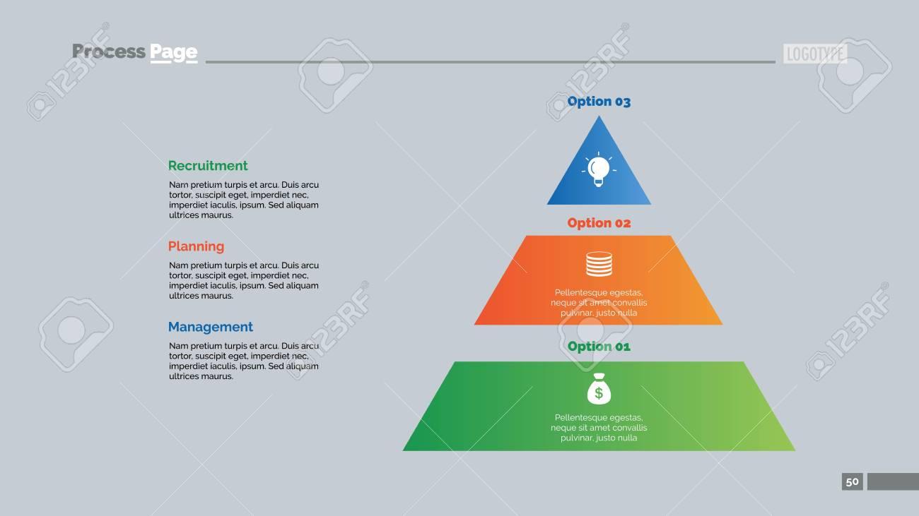 three options process chart slide template. business data. pyramid, Presentation Pyramid Template, Presentation templates