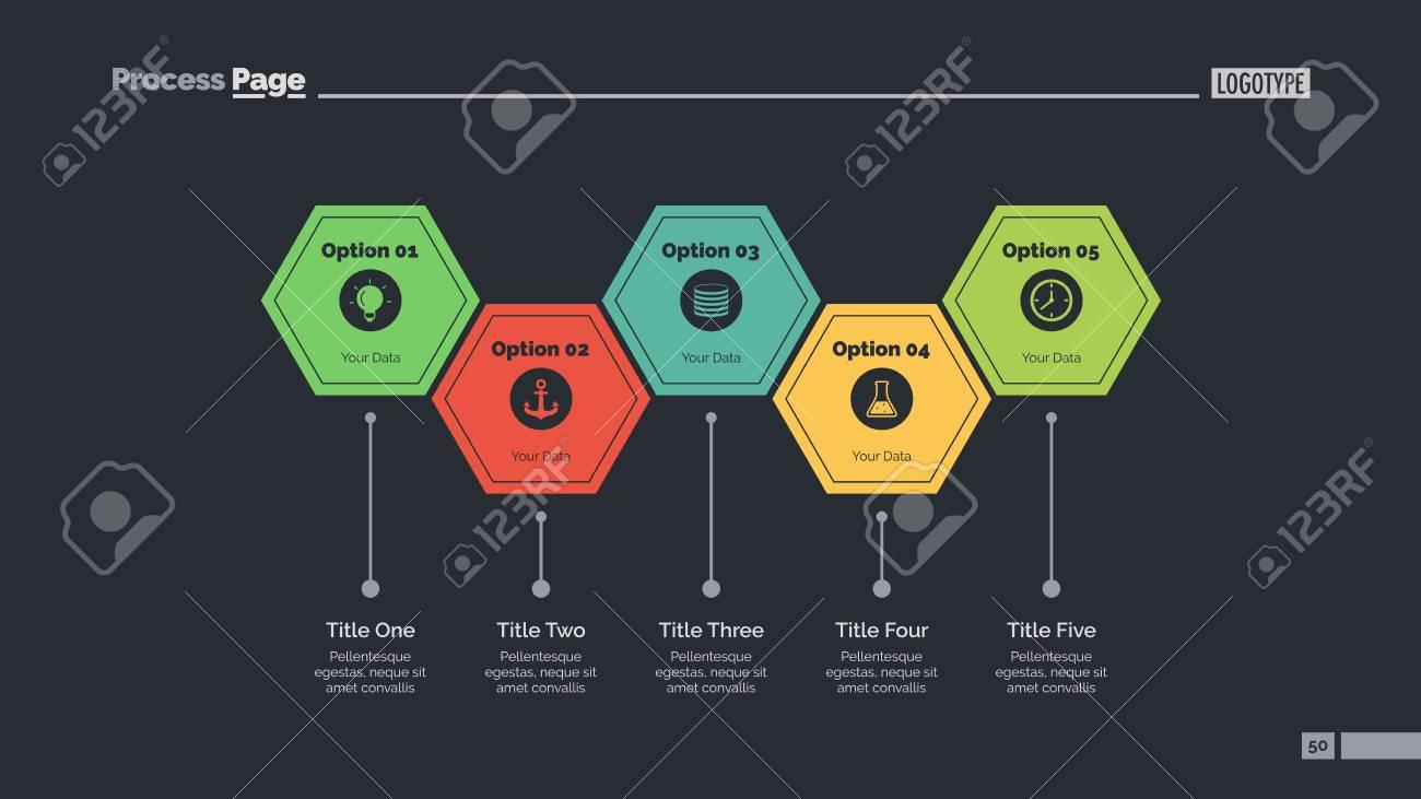 Five Hexagon Steps Process Chart. Business Data. Graph, Diagram ...