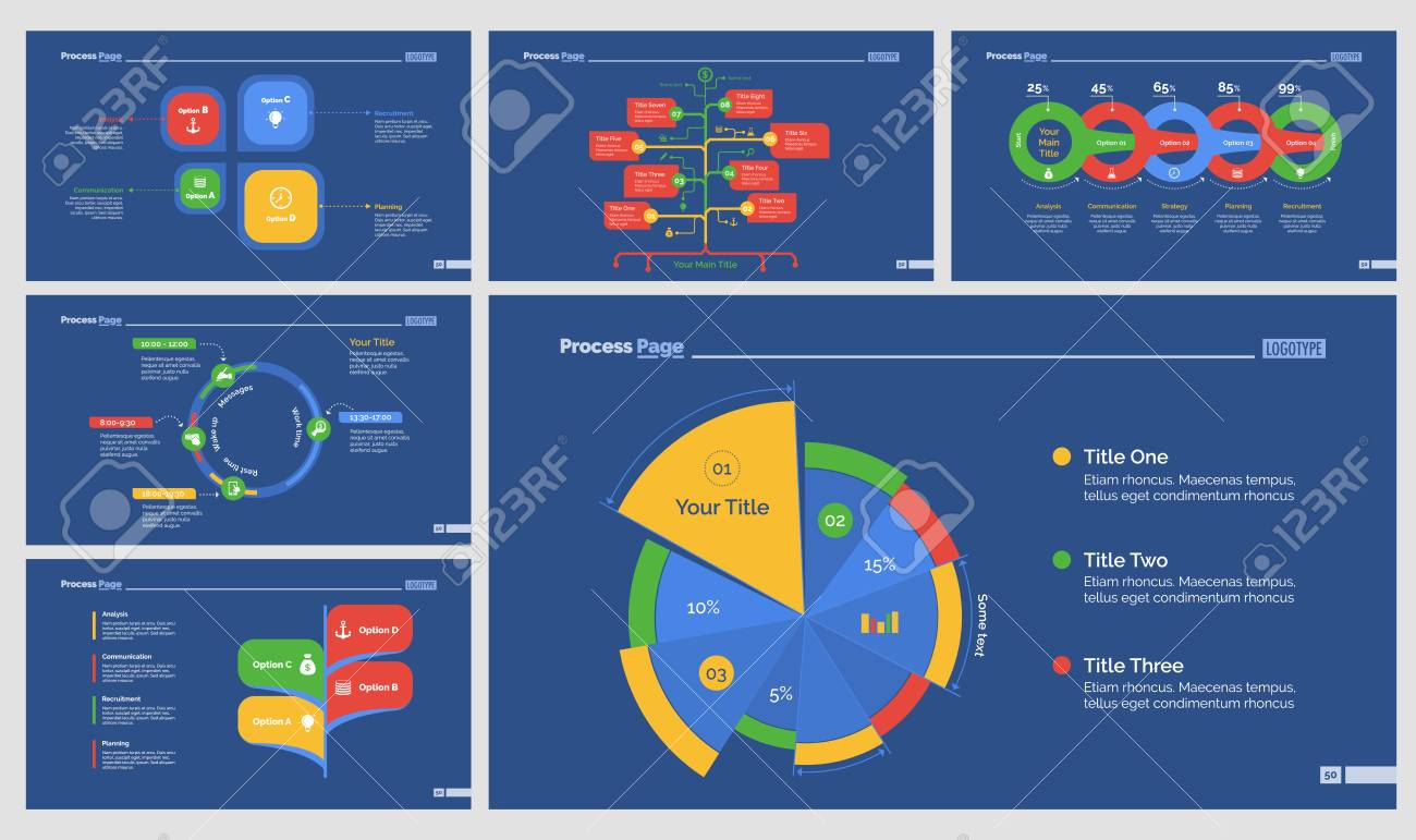 six strategy presentation templates set royalty free cliparts, Strategy Presentation Templates Free, Powerpoint templates