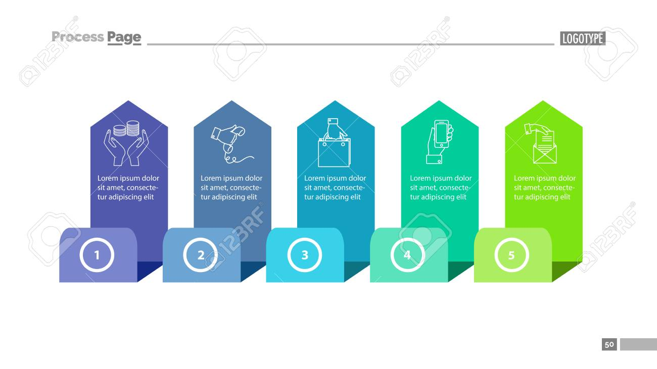 Five Step Process Chart Slide Template. Element Of Diagram, Strategy ...