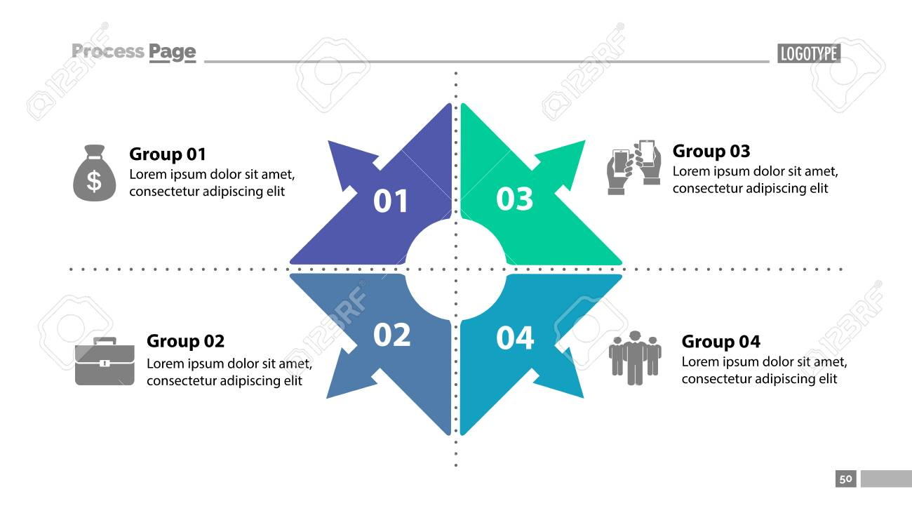four group process chart slide template. element of plan, strategy, Group Presentation Template, Presentation templates