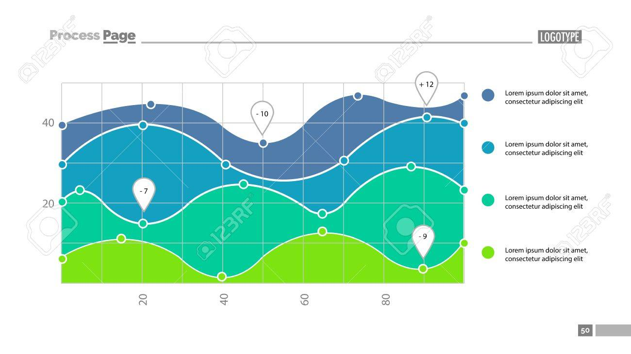 Four area chart with scatter plot slide template  Element of