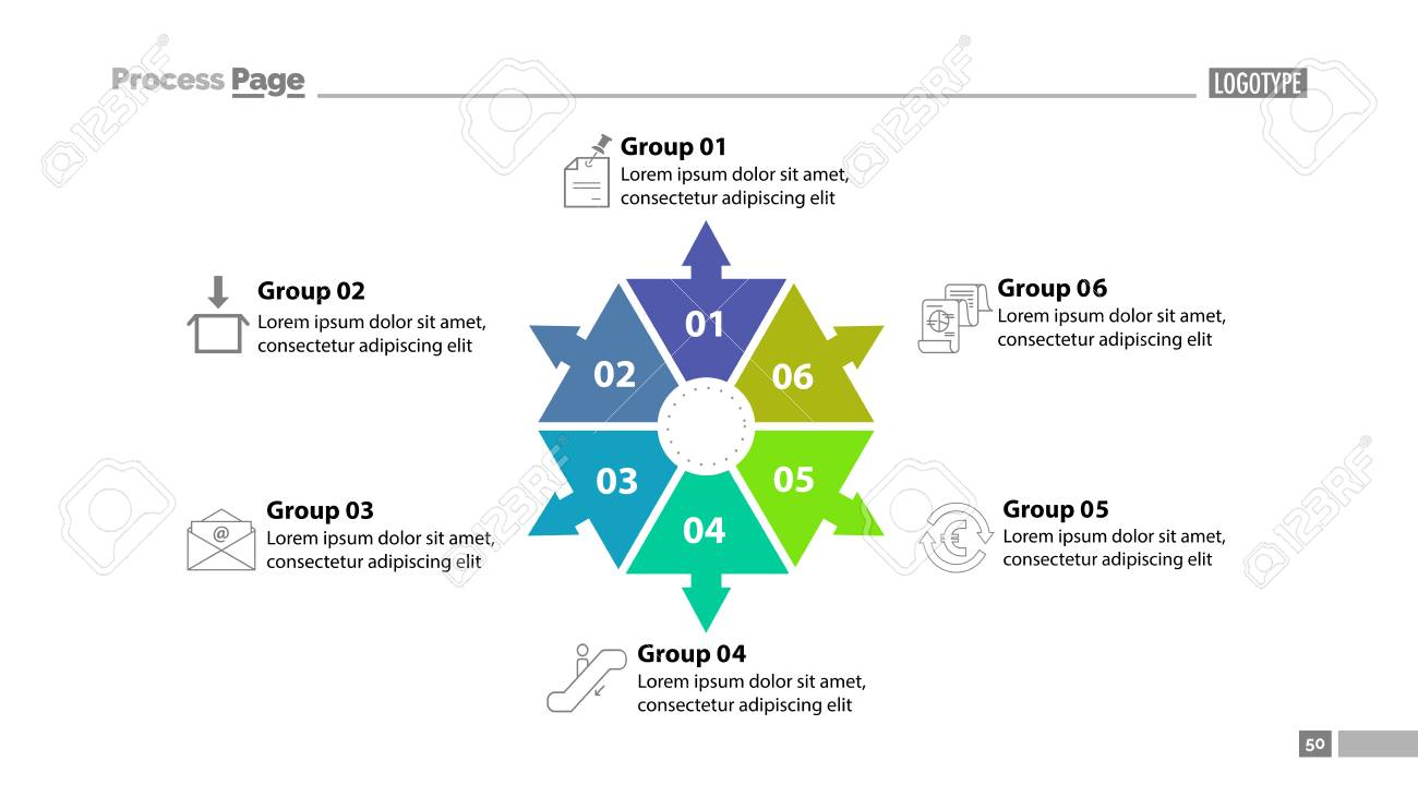 six group process chart slide template. element of plan, strategy, Group Presentation Template, Presentation templates