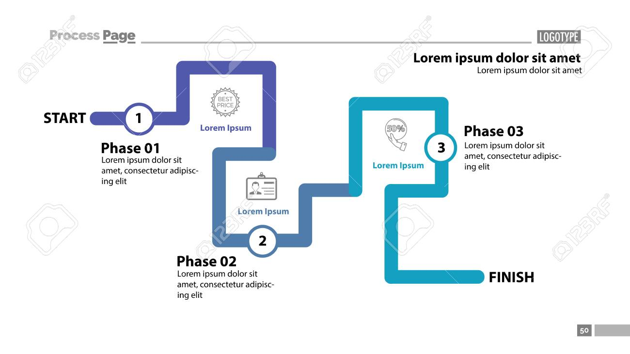 three phase flow chart slide template element of diagram
