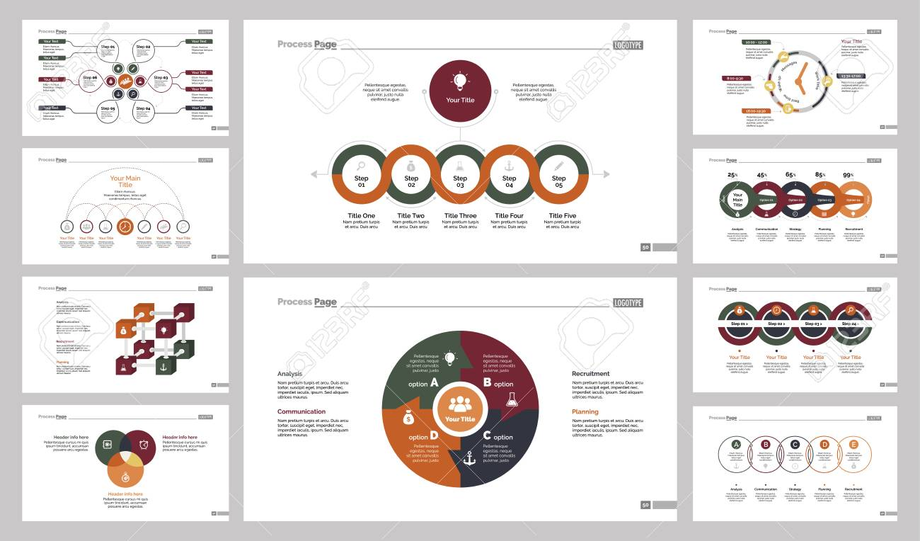 Ten Teamwork Slide Templates Set Royalty Free Cliparts, Vectors, And ...