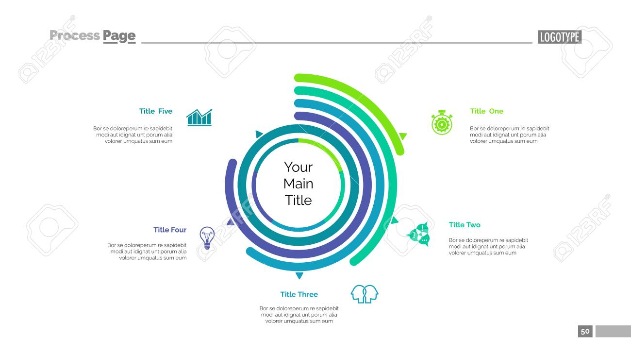 Five options doughnut chart slide template business data arc five options doughnut chart slide template business data arc performance design ccuart Gallery