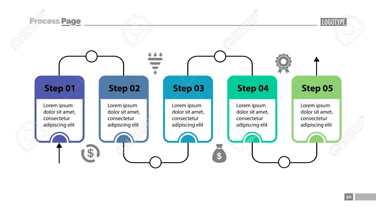 five steps process chart slide template business data flow,  process flow diagram design images #5