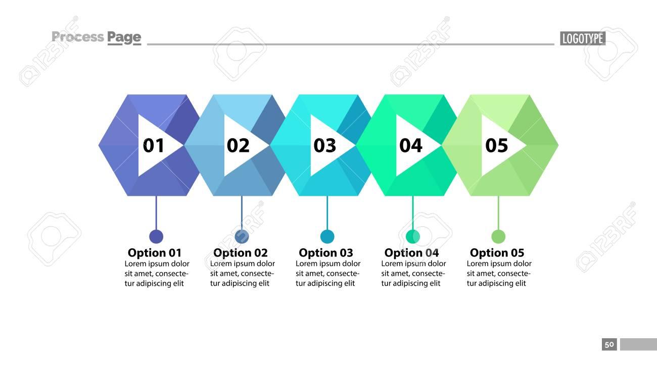 Five Steps Process Chart Slide Template Business Data Flow Diagram Vs Design