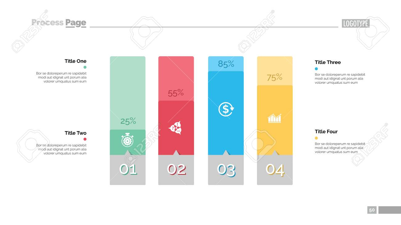 Four Columns Bar Chart Slide Template Royalty Free Cliparts Vectors And Stock Illustration Image 88402745