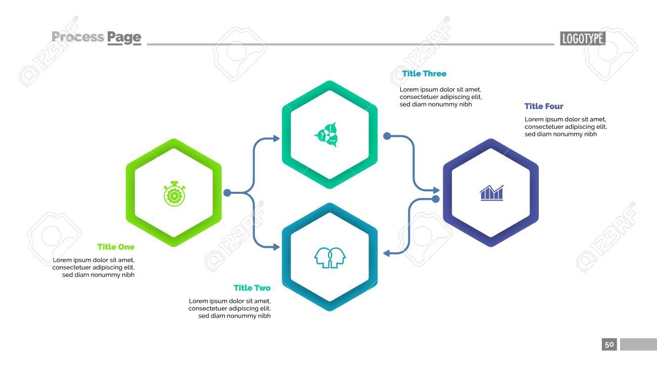 Four Elements Flowchart Slide Template Vector illustration