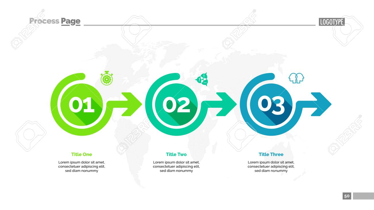 Three options process chart slide template. Business data. Workflow, point, design. For infographic, presentation, report. For topics like banking, strategy, logistics. - 92167968