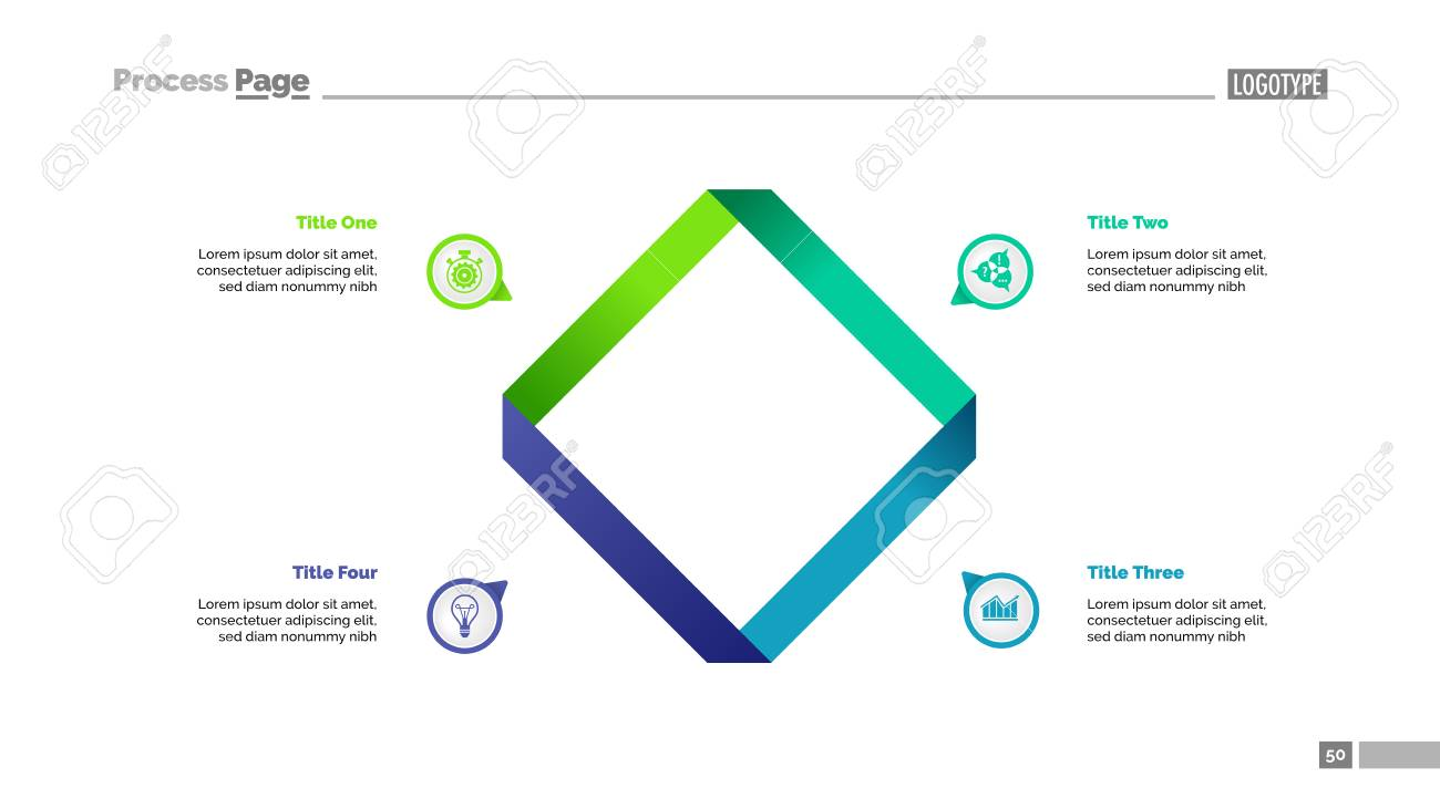 Four Square Edges Process Chart Slide Template Business Data
