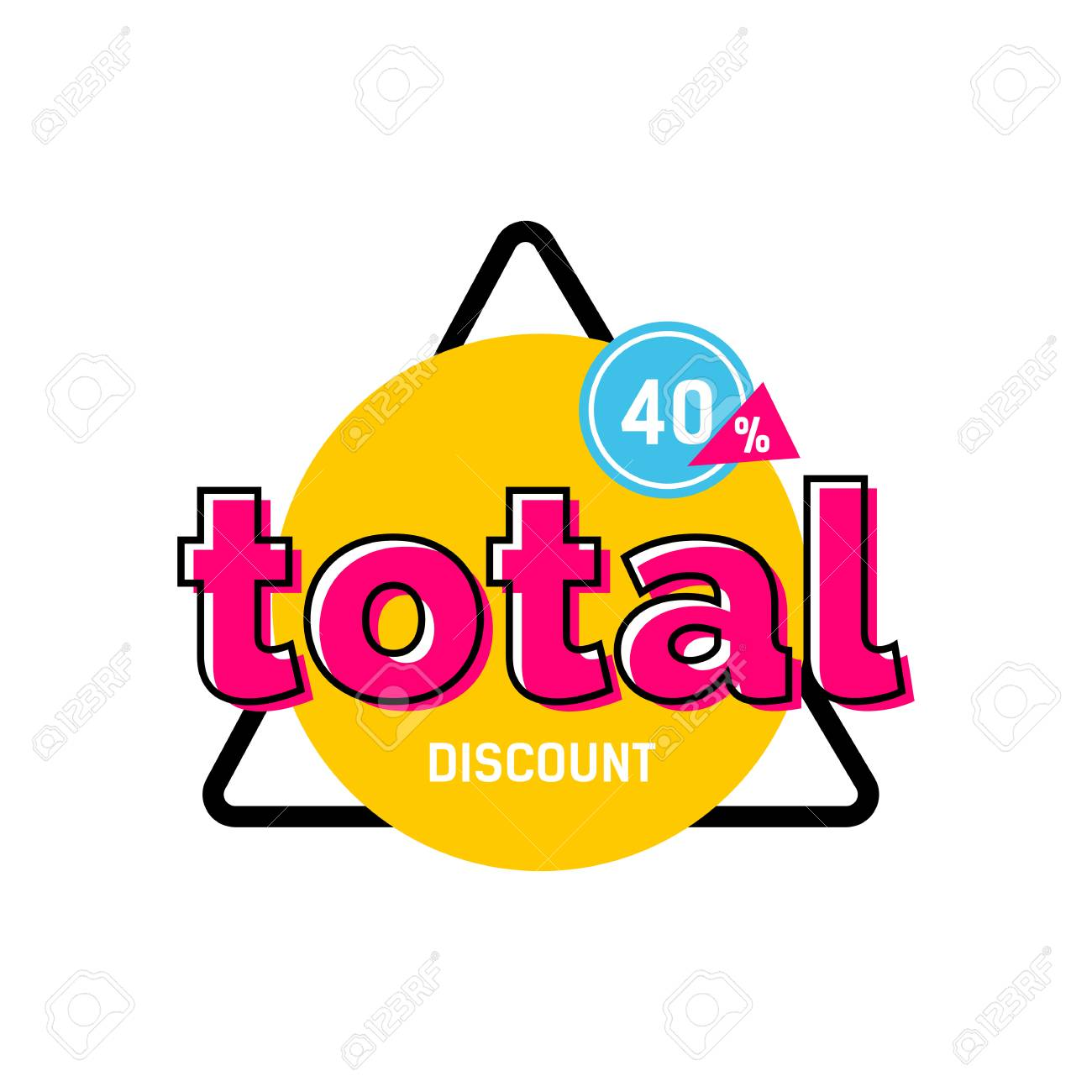 Descuento Total, Cuarenta Por Ciento Letras En Círculo Amarillo En ...