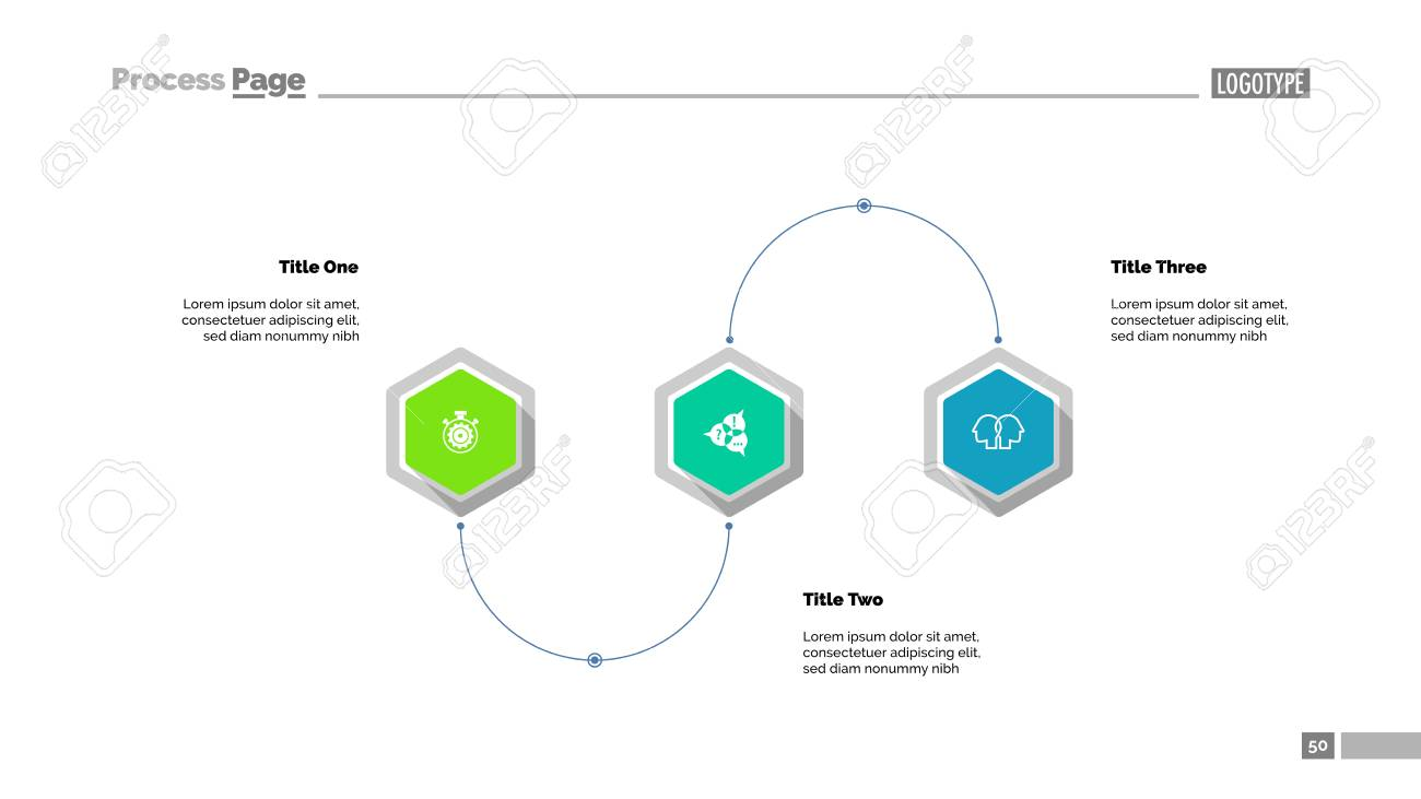 three step process diagram slide template. business data. scheme