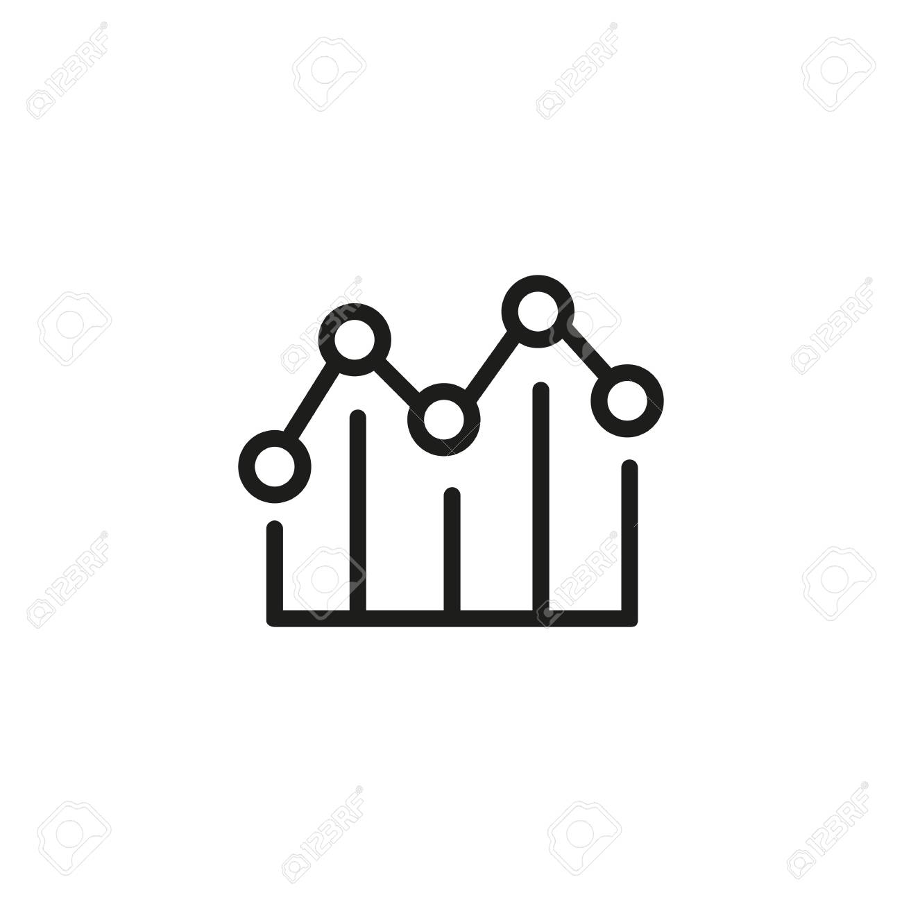 line icon of line graph. scatter plot chart, diagram, correlation