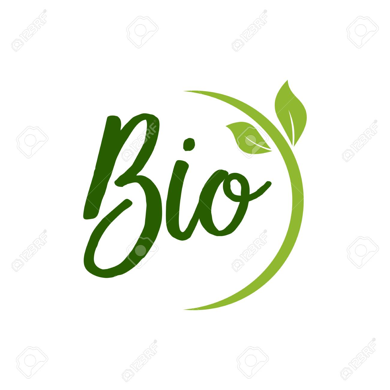 Bio Lettering with Green Leaves - 93339686
