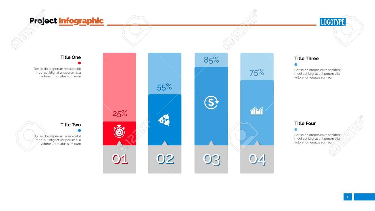 four columns bar chart. business data. percent, diagram, design