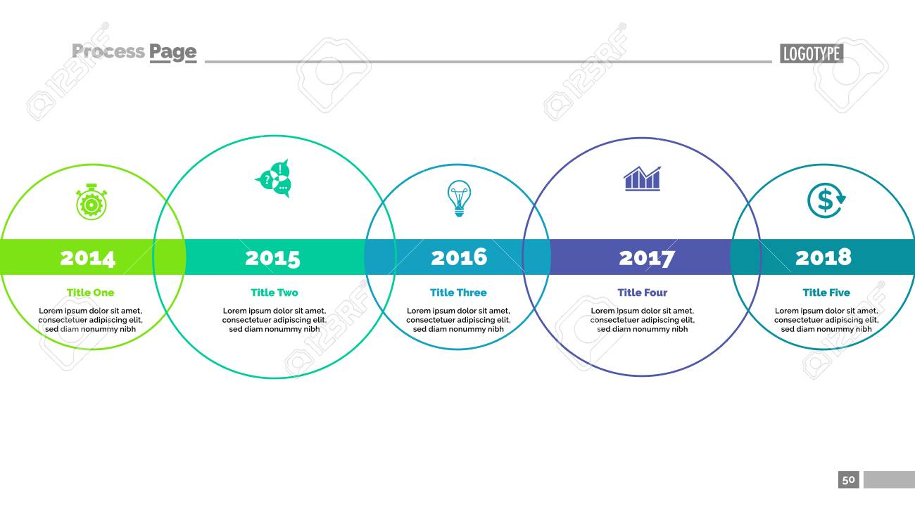 Five Circle Timeline Diagram Template Royalty Free Cliparts Vectors