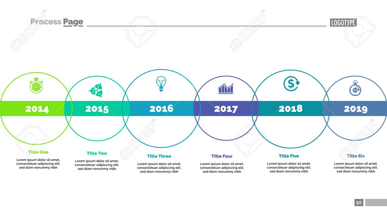 Six Circle Timeline Diagram Template Royalty Free Cliparts Vectors