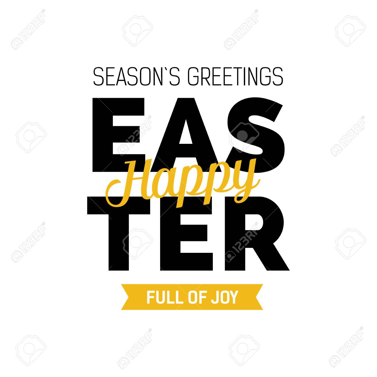 Seasons Greetings Happy Easter Full Of Joy Lettering Modern