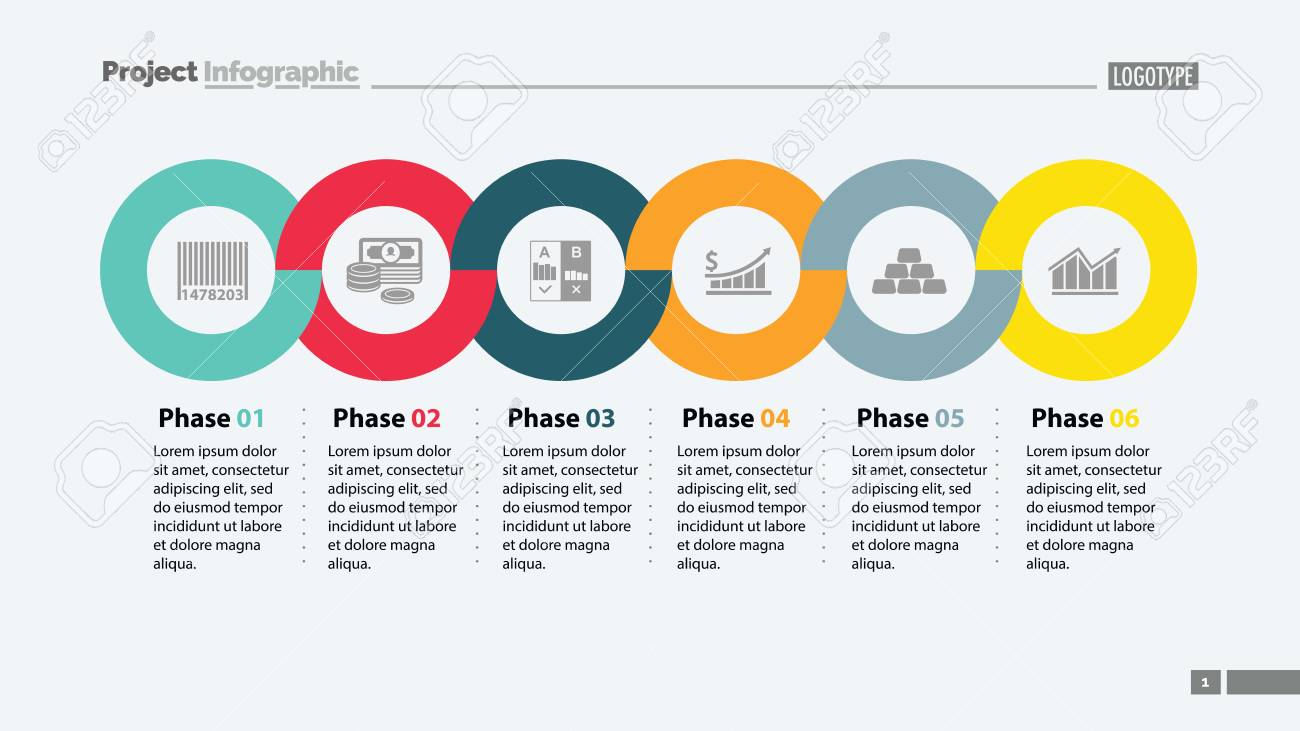 six phases timeline slide template royalty free cliparts vectors