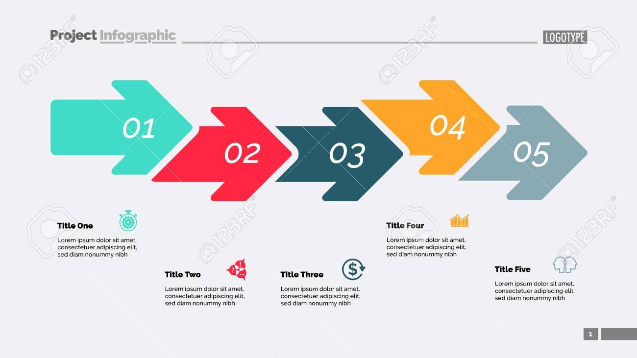 five steps arrow chart process diagram timeline slide template