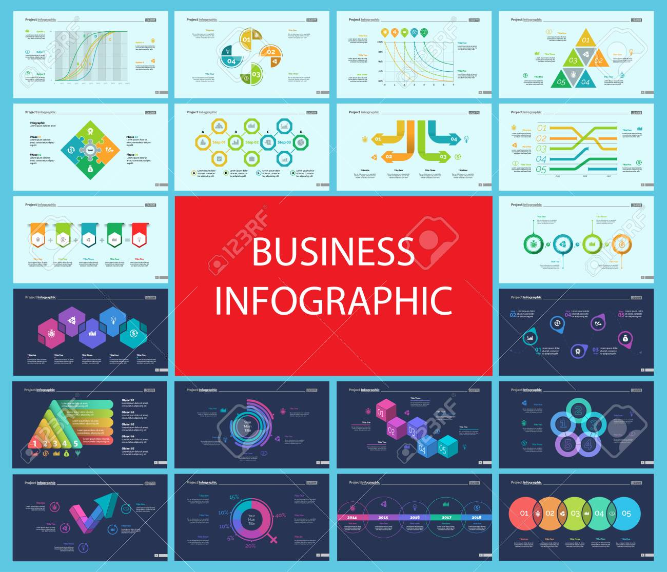 Creative Infographic Diagrams With Geometric Elements For Project