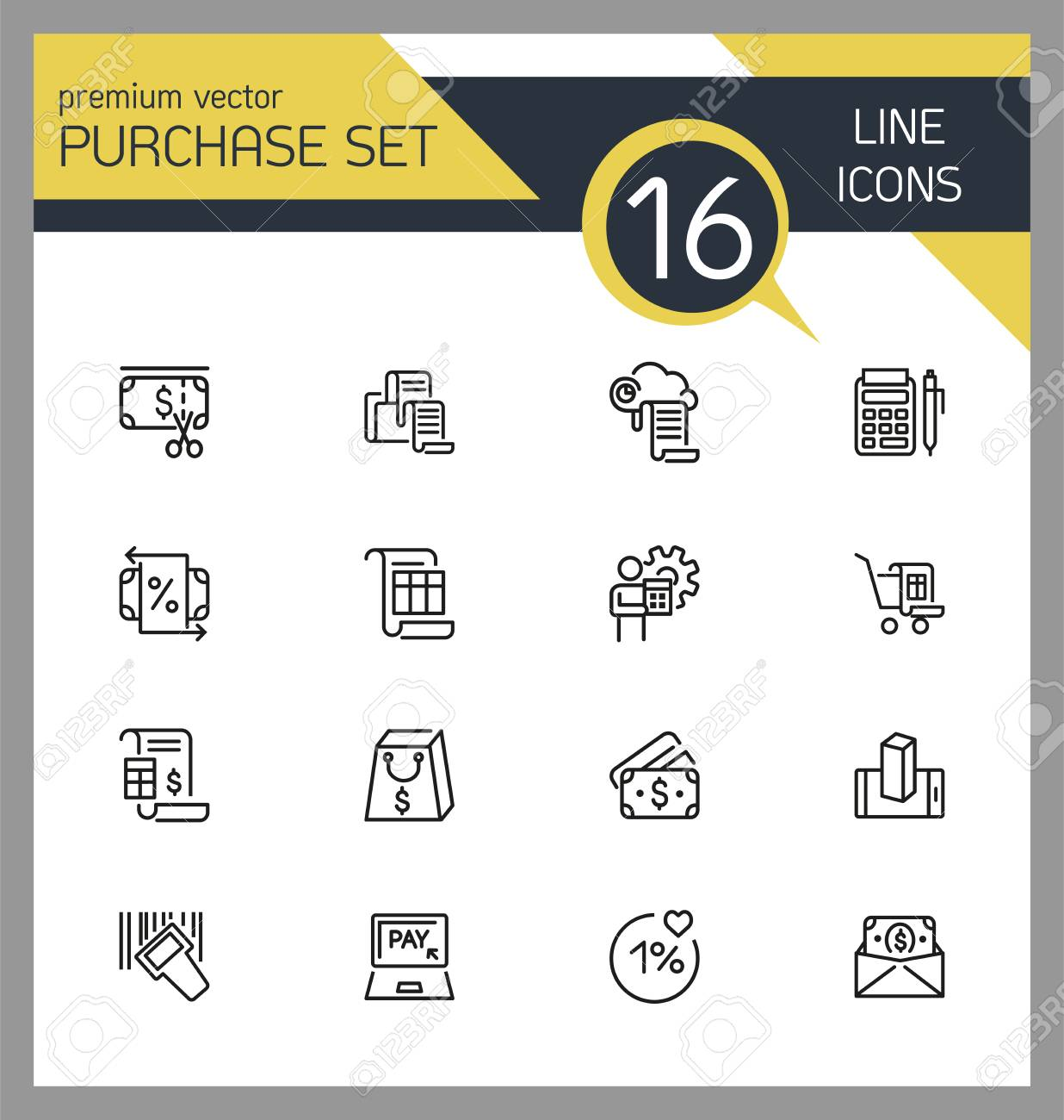 purchase icons set of line icons cash back receipt payment