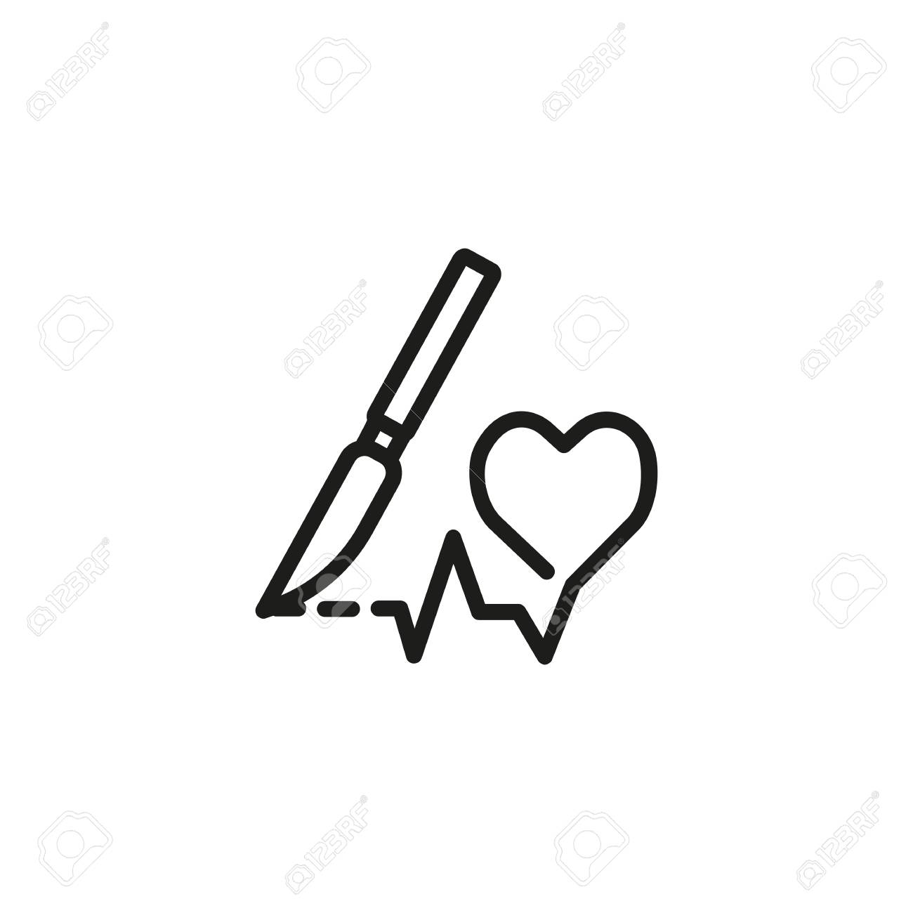 Heart Surgery Line Icon Heart Shape Cardiograph Scalpel Health Royalty Free Cliparts Vectors And Stock Illustration Image 108224928