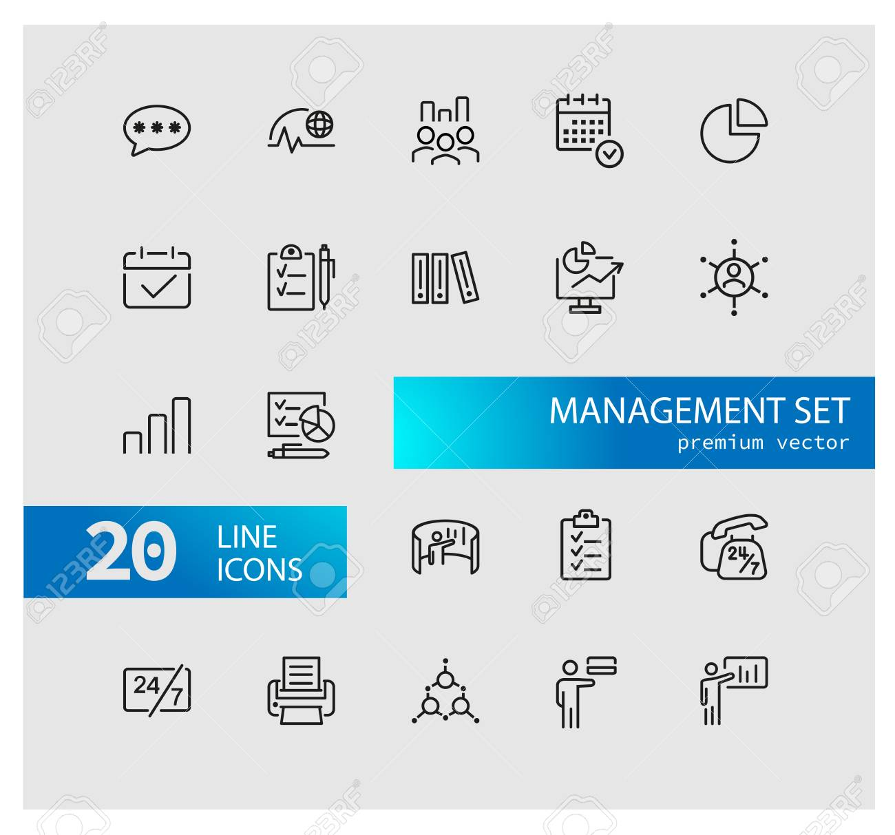Management icons  Set of line icons  Deadline, recruitment,