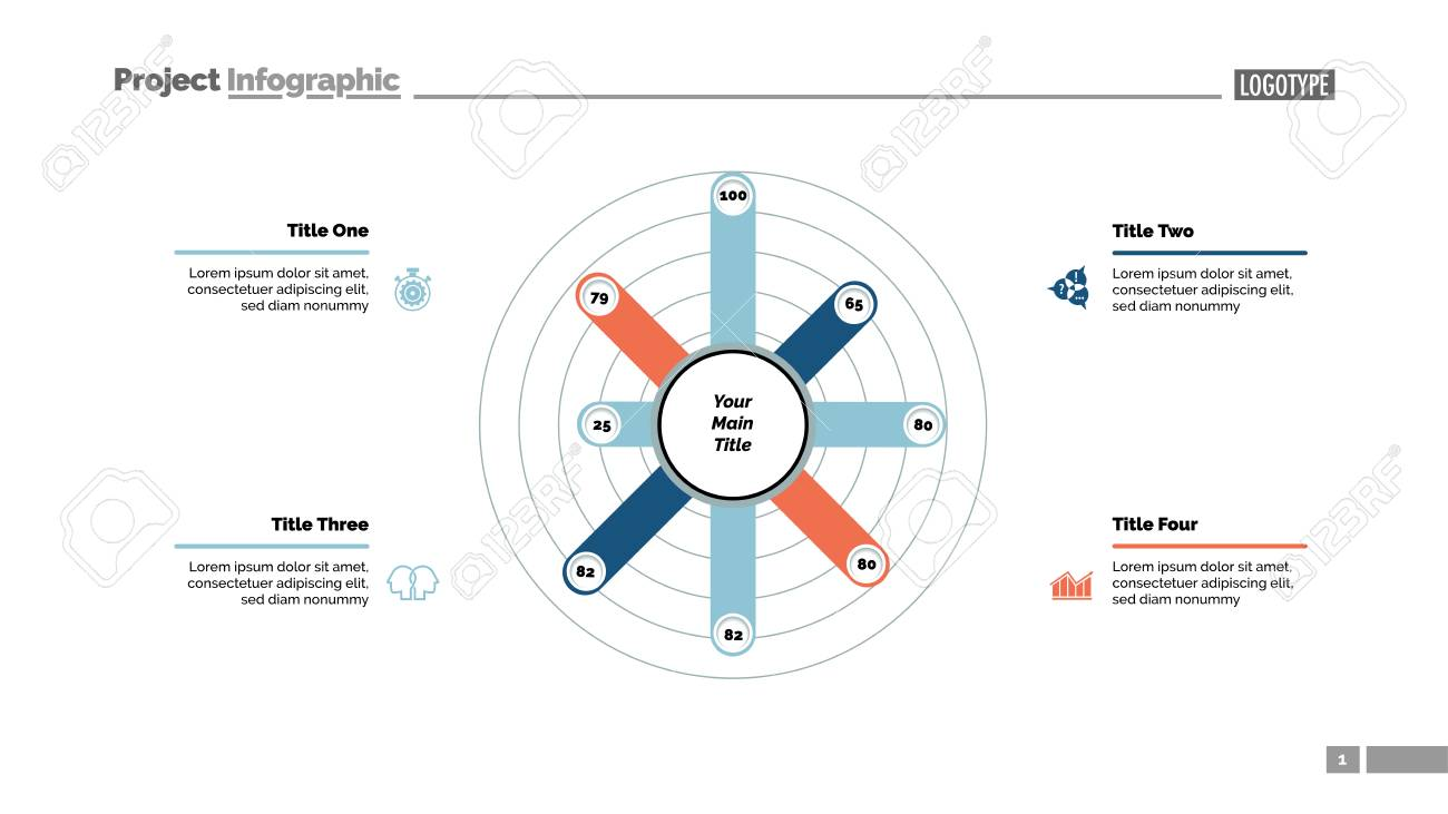 eight columns radial bar chart slide template business data option
