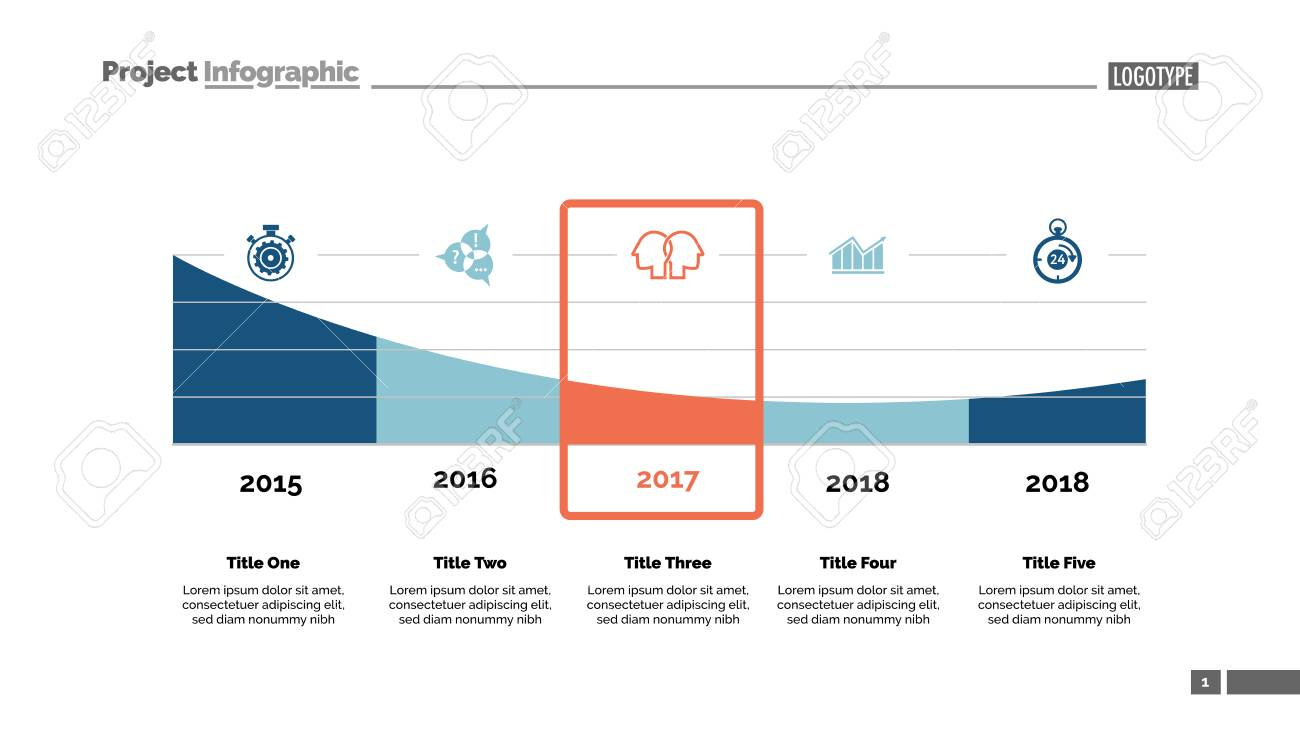 five parts area chart slide template business data timeline
