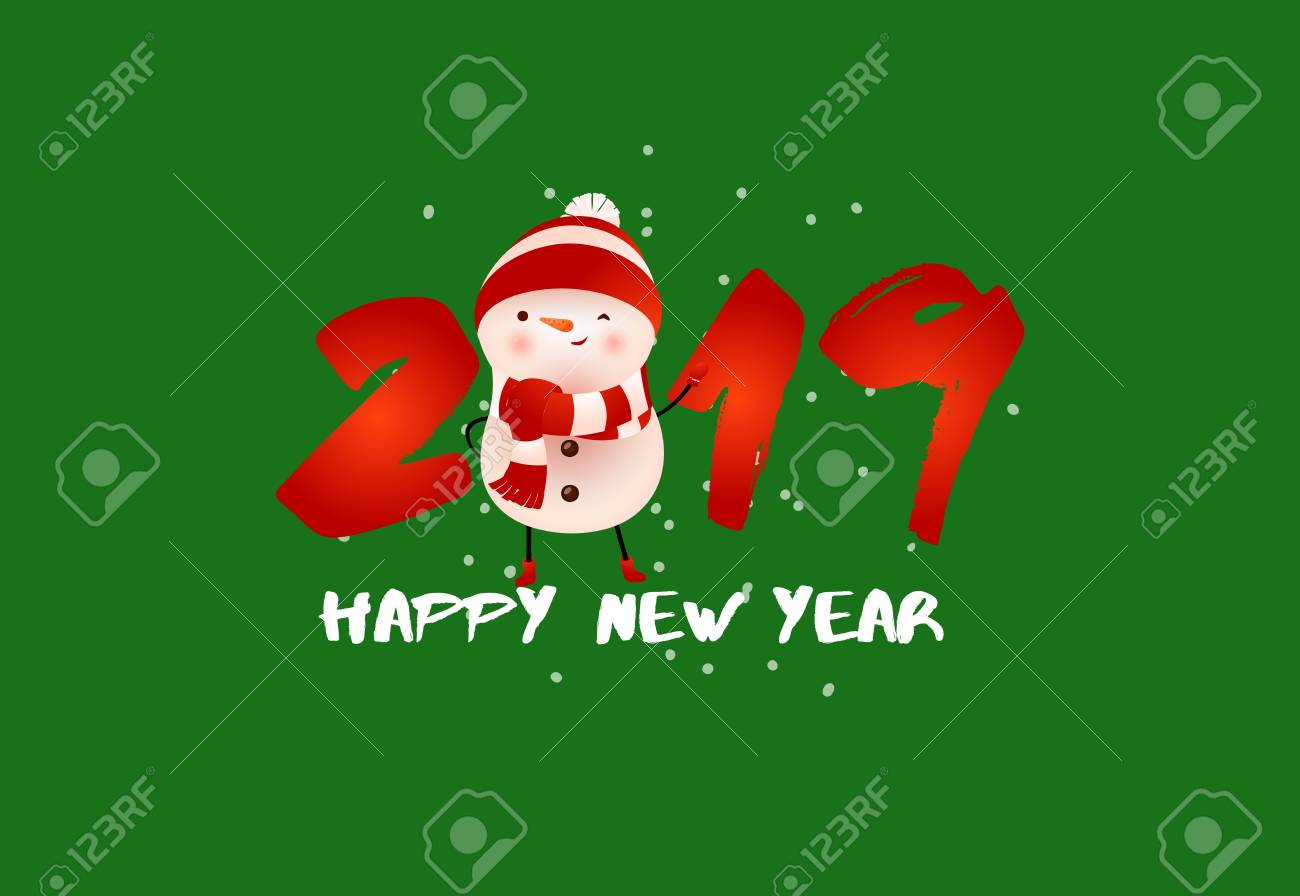 happy new year greeting poster winking cute snowman creative inscription with funny snowman on green