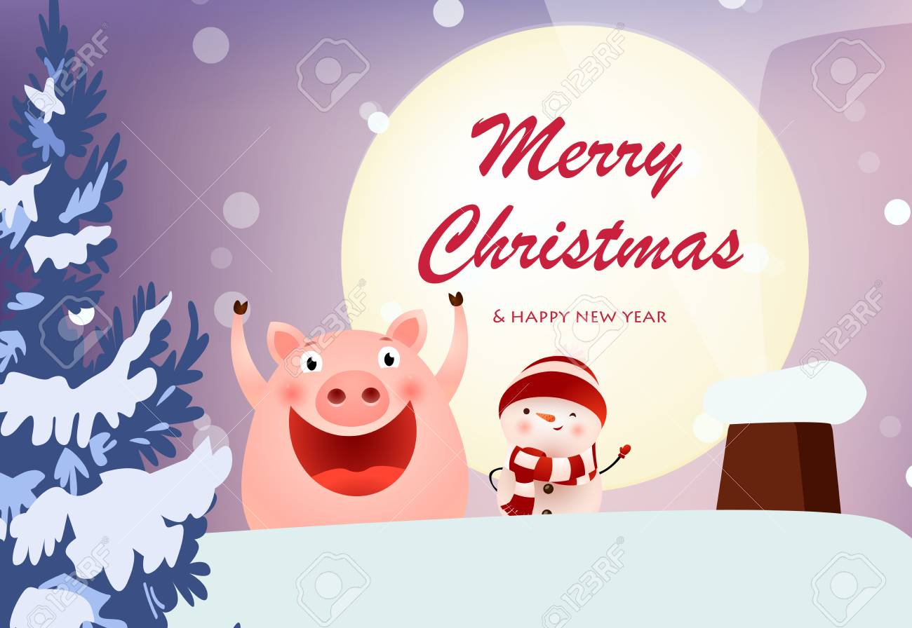 merry christmas and happy new year banner with cheerful pig and snowman on roof at fir