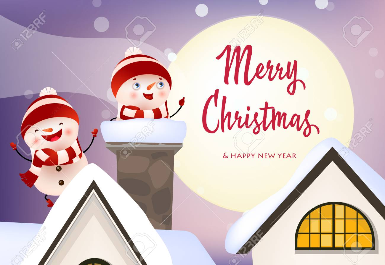 illustration merry christmas and happy new year banner with excited snowmen laughing on chimney against moon holiday concept vector illustration can be