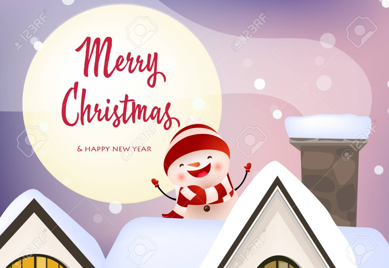 illustration merry christmas and happy new year banner with laughing snowman sitting on roof holiday concept vector illustration can be used for