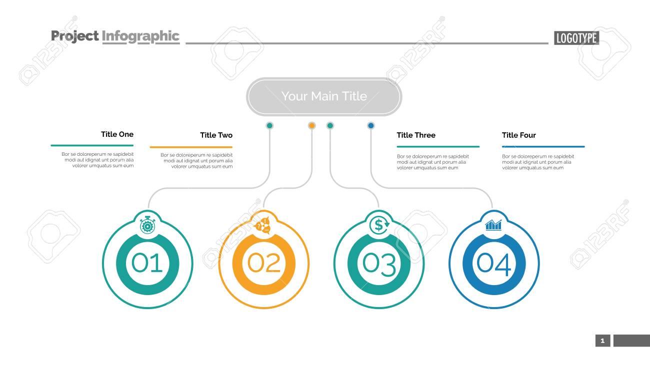 Four ideas process chart slide template  Business data  Startup,