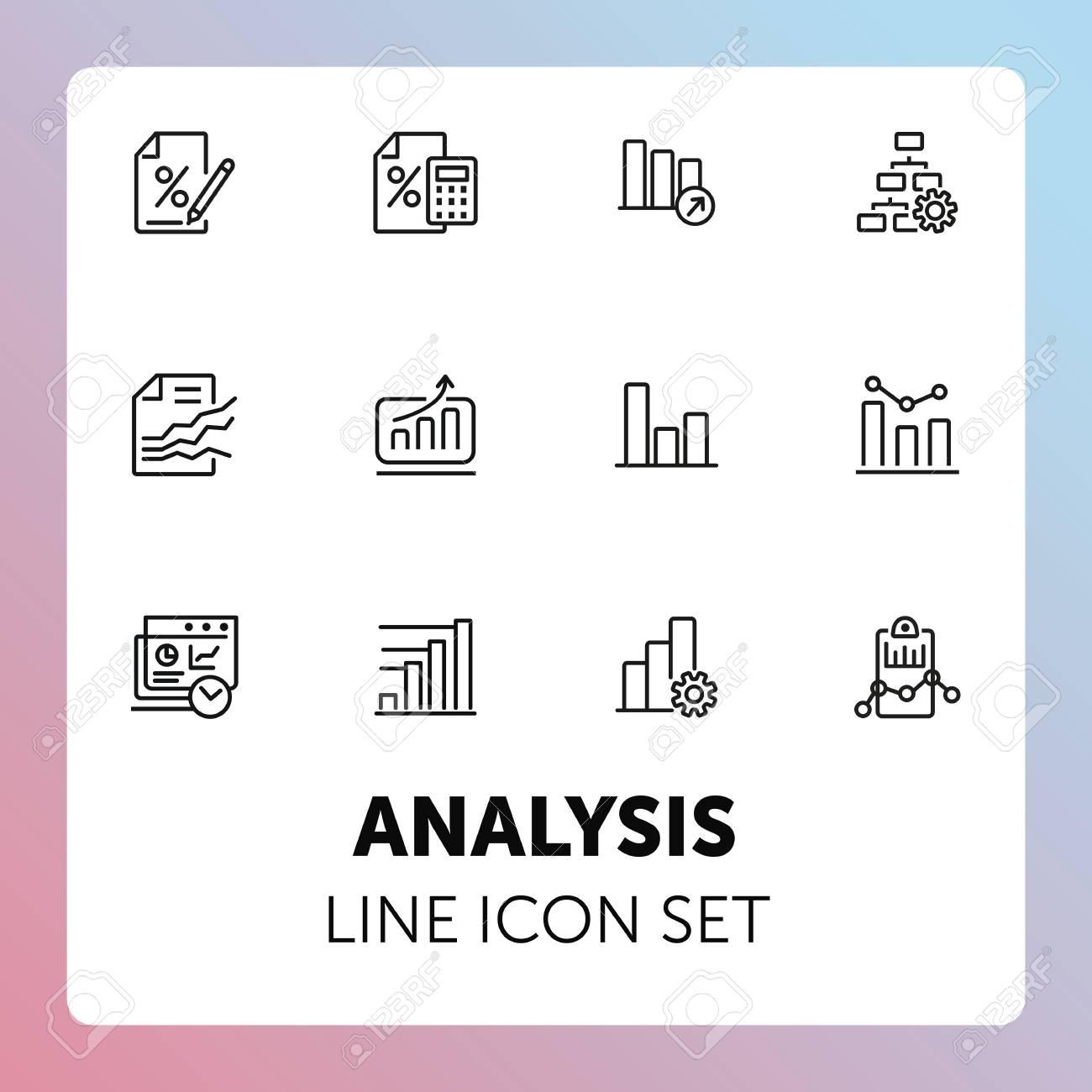 Analysis line icon set  Bar chart, bank interest, loan agreement