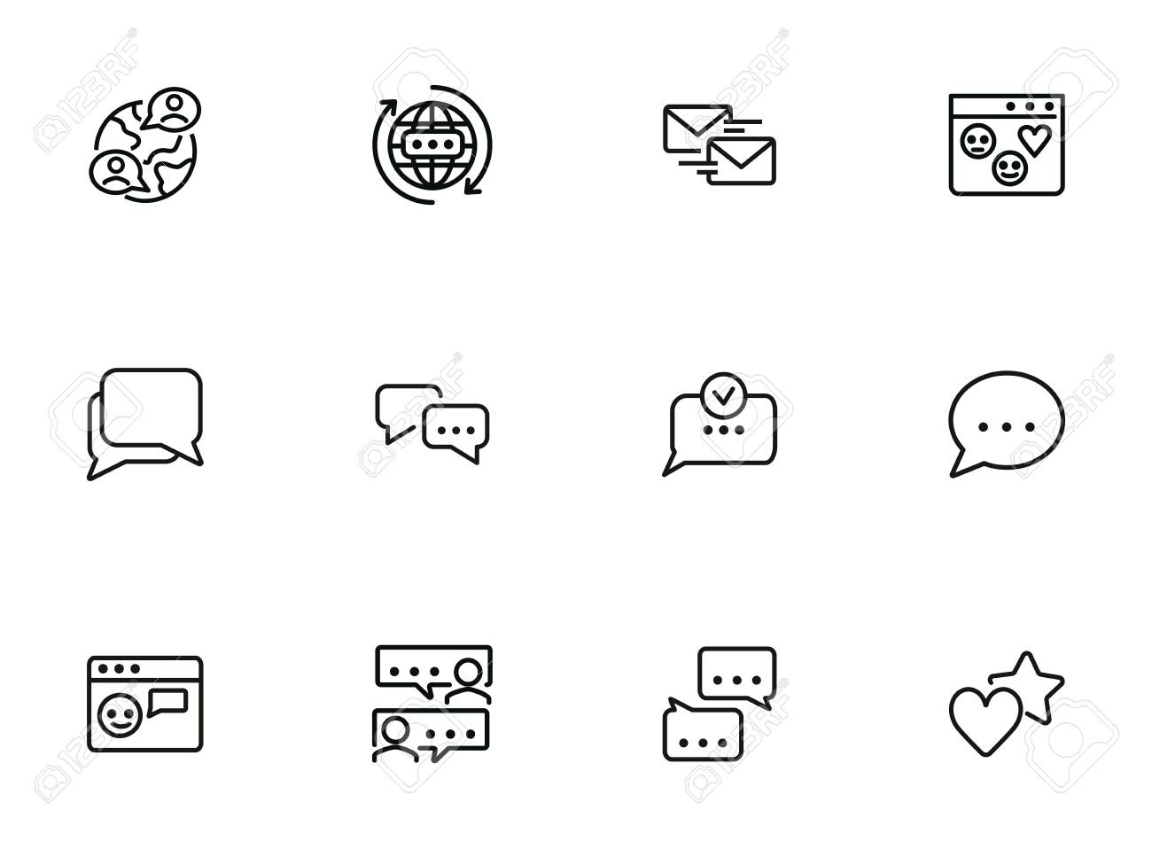 Social media communications line icon set. Set of line icons on white background. Chatting, message, typing. Internet concept. Vector illustration can be used for topics like web, communication - 126644833