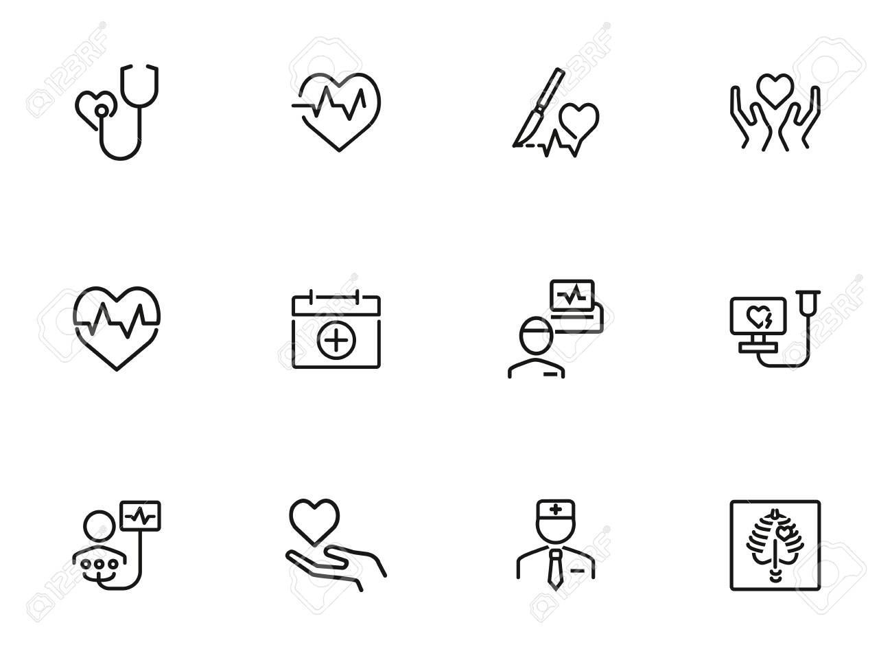Heart disease prevention line icon set  Stethoscope, surgery,