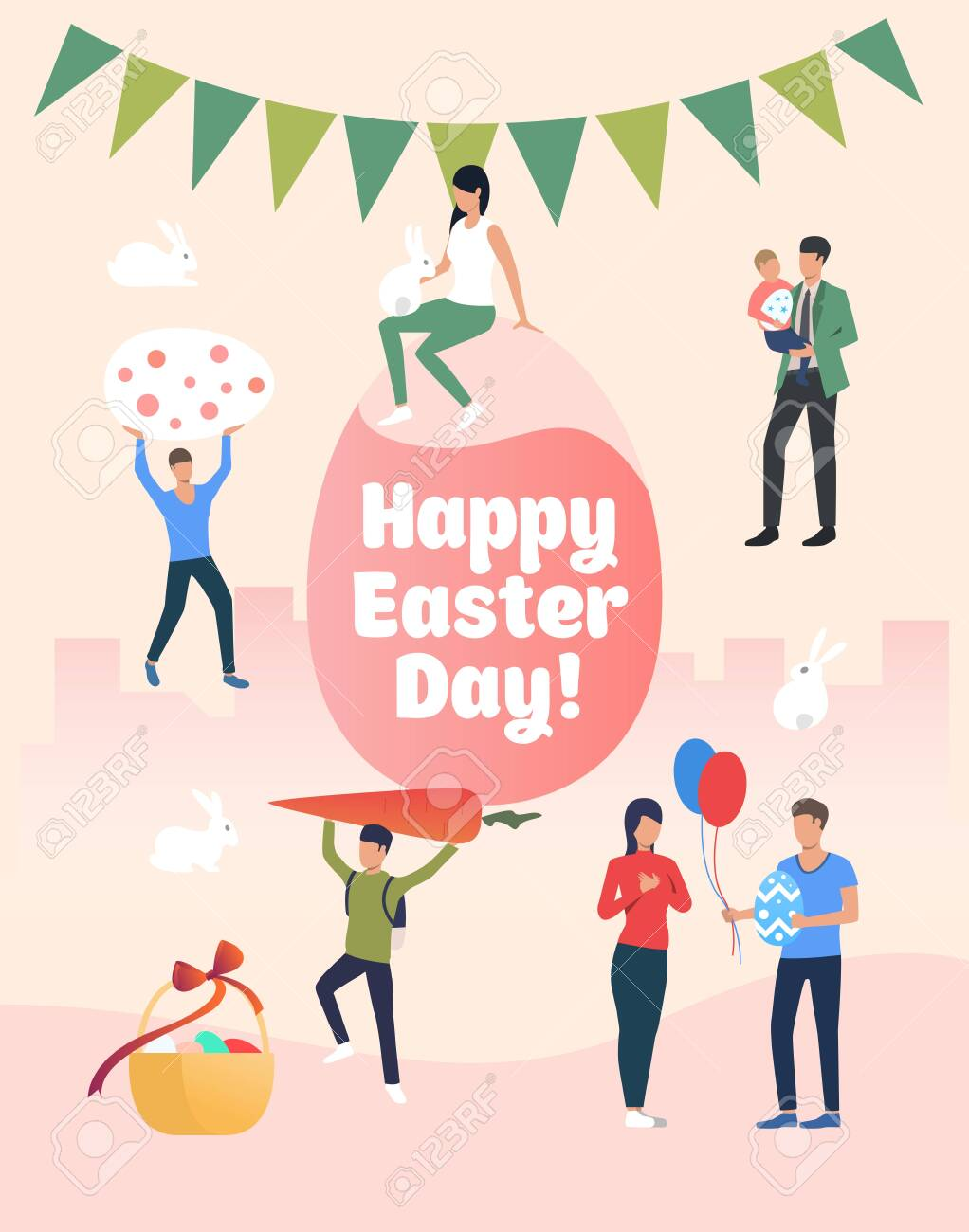 Happy Easter Day Lettering People With Gifts And Eggs
