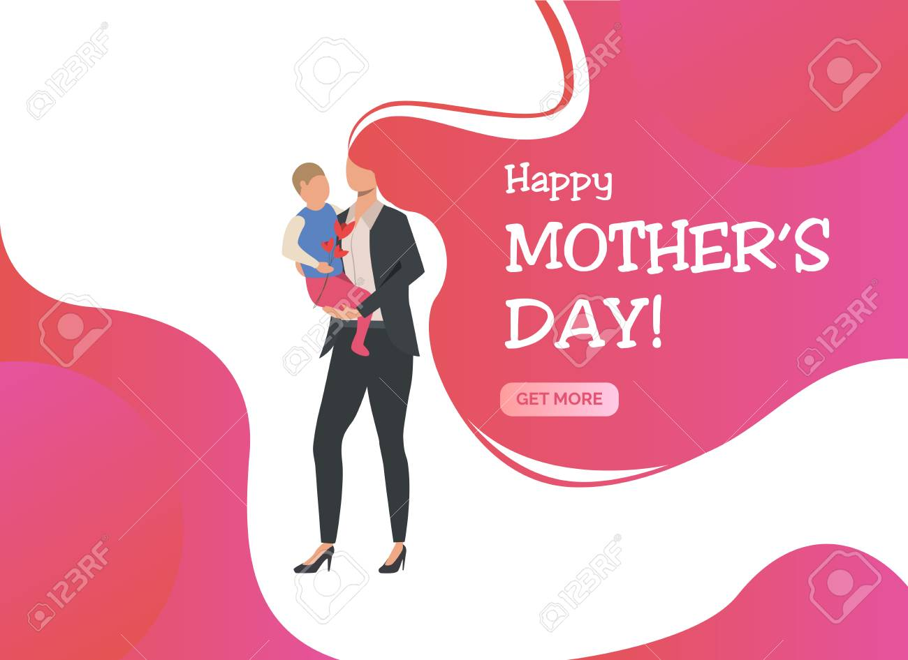 Happy Mothers Day lettering, woman standing and holding child