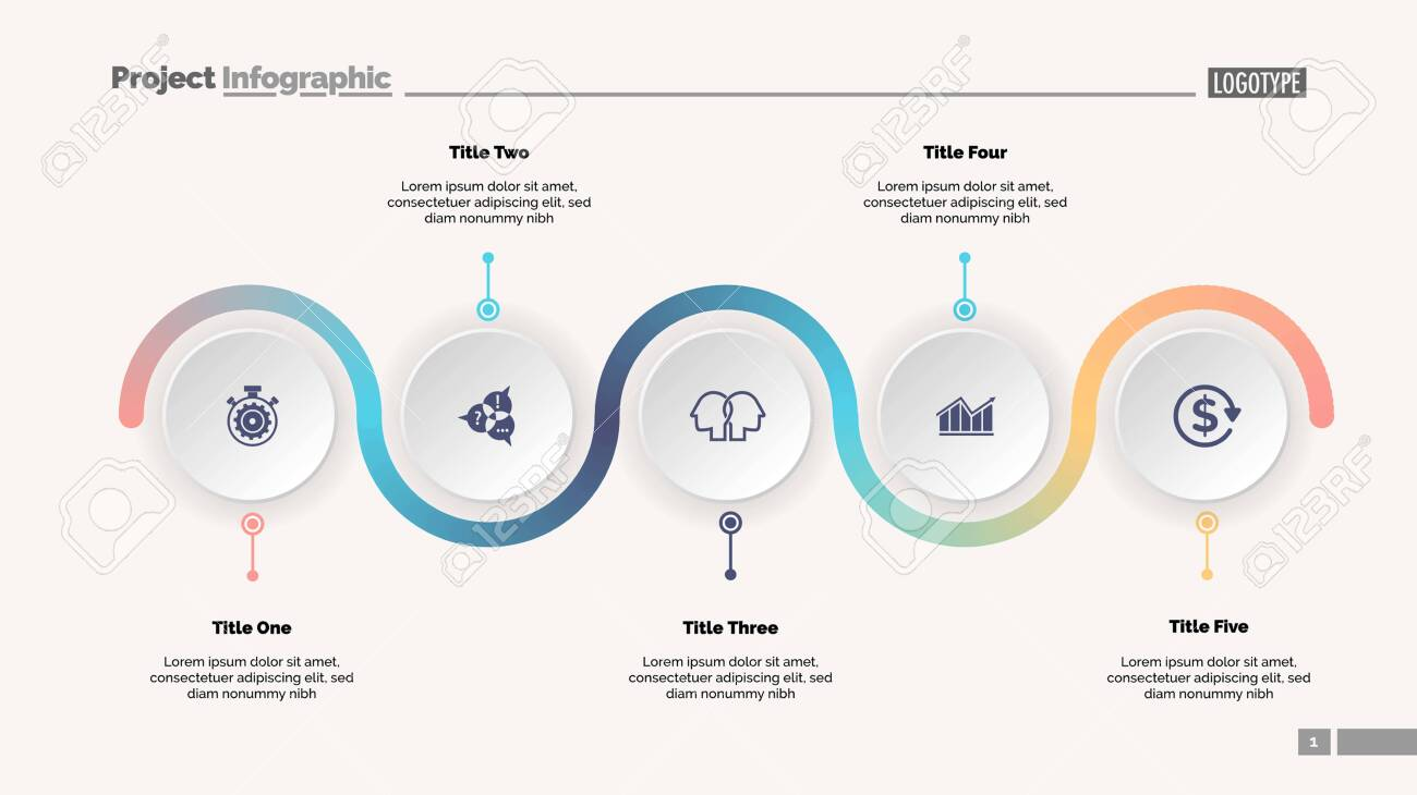 Five step process chart slide template. Business data. Progress, diagram, design. Creative concept for infographic, report, presentation. Can be used for topics like workflow, marketing, management - 124422726
