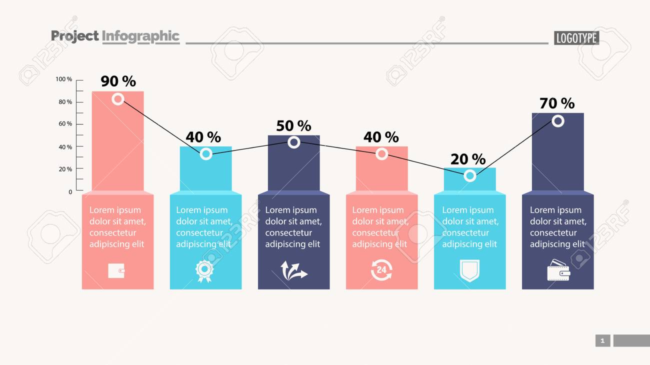 Percentage bar chart with six elements  Business data  Design,