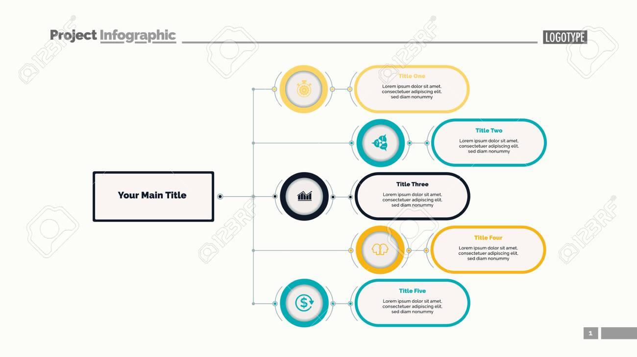 Five options flowchart slide template  Business data  Structure,