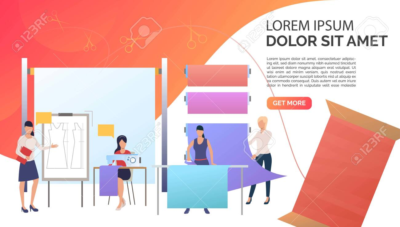 Designer Dressmakers Ironing And Sewing Clothes In Sewing Studio Royalty Free Cliparts Vectors And Stock Illustration Image 124728606