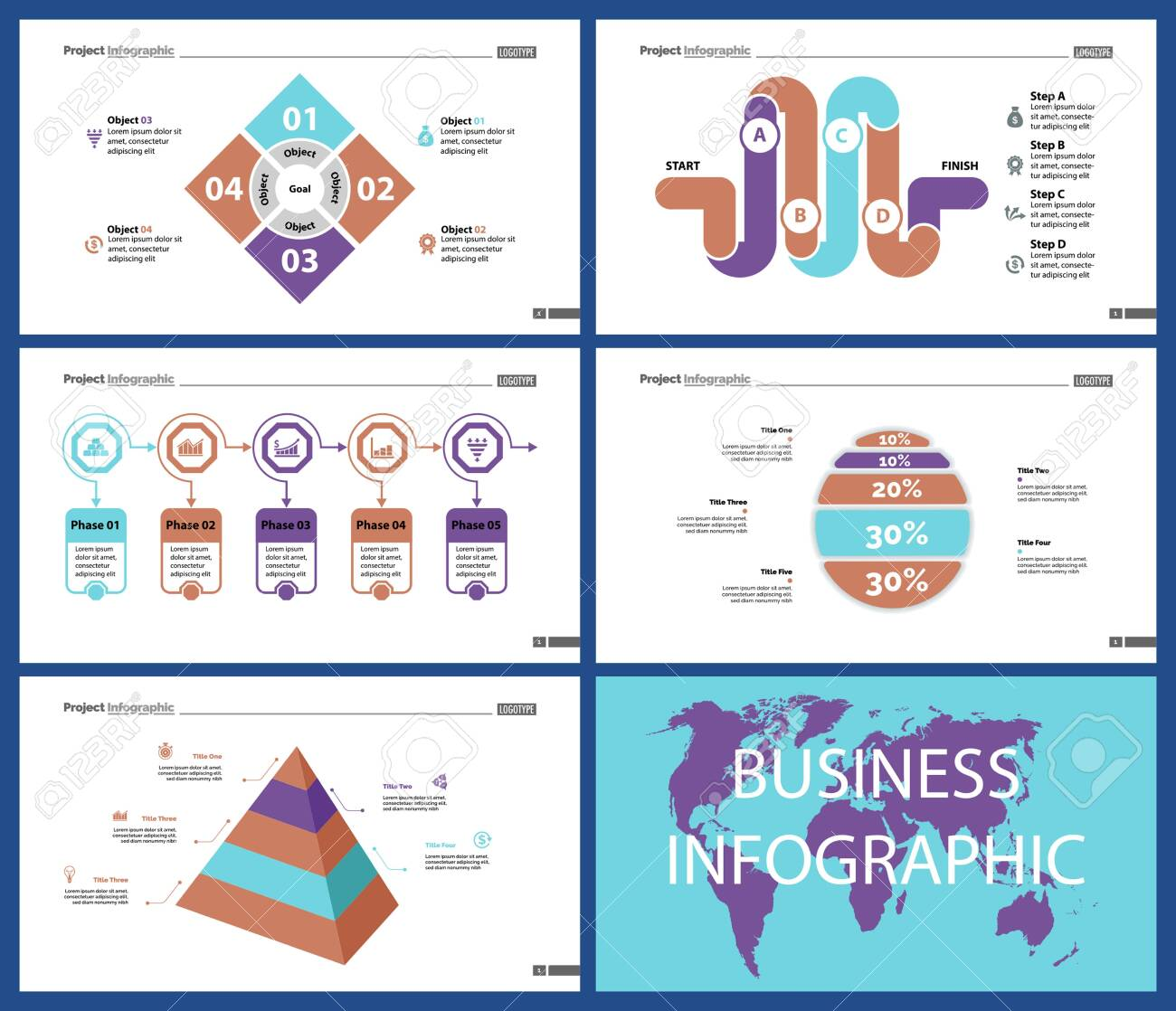 Business infographic creative design set can be used for annual report, web design, workflow layout. Workflow concept. Option, venn, cycle, donut charts, bar graph, flowchart - 128516172