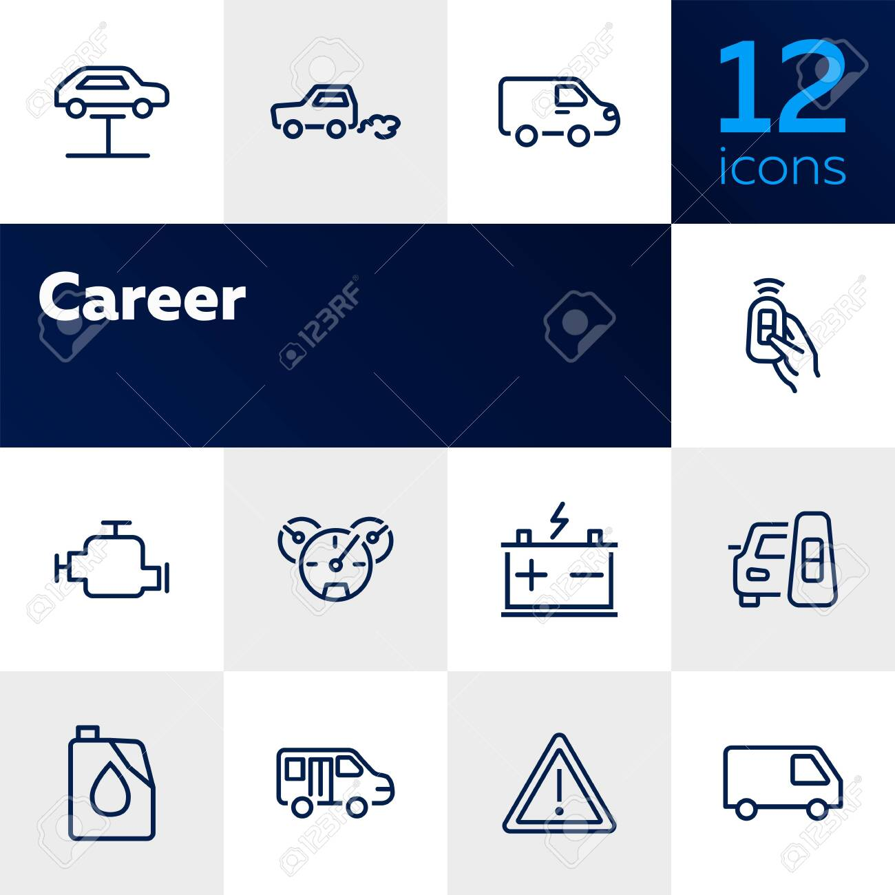 Car service line icon set  Lift, battery, van, key  Car concept
