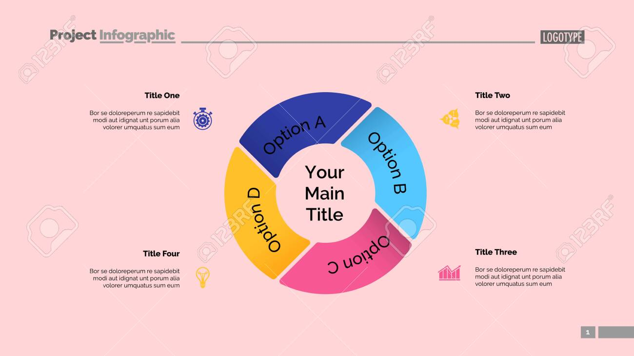 Pie chart with four elements. Diagram, option graph, layout. Business data. Creative concept for infographics, presentation, project. Can be used for topics like marketing, analysis, workflow. - 129954473